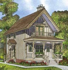 Cottage with Curb Appeal (HWBDO73922) | Cottage House Plan from BuilderHousePlans.com  944 sq. ft.  Includes wood stove.