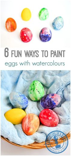 6 Fun Ways to Paint Easter Eggs with Kids Using Watercolours: Easter process art!
