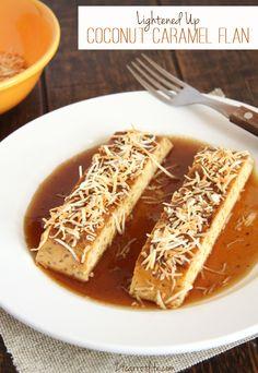 Lightened Up Coconut Caramel Flan (Fiesta Fridays) - 24 Carrot Life Healthy Food Blogs, Healthy Eating Tips, Healthy Treats, Light Desserts, No Bake Desserts, Dessert Recipes, Coconut Slice, Toasted Coconut, Caramel Flan