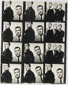 David Bailey The Kray Brothers, 1965  oversized gelatin silver contact sheet, comprising 12 images  numbered sequentially in negative  50.9 x 37.8cm