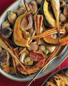 Roasted winter vegetables. Hearty yet still light, this recipe is the perfect side for roasted meats. And bonus: leftovers become a quick soup in the blender with a touch of stock.