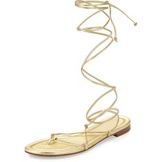 Michael Kors Collection Bradshaw Lace-Up Gladiator Flat Sandal (1.945 VEF) ❤ liked on Polyvore featuring shoes, sandals, pale gold, ankle tie sandals, ankle strap flats, flat gladiator sandals, leather gladiator sandals and lace up sandals