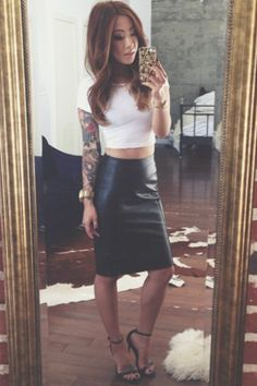 claire marshall leather pencil skirt