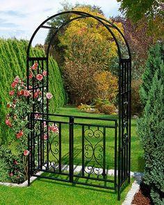 dema metall rosenbogen mit tor spalier rankgitter. Black Bedroom Furniture Sets. Home Design Ideas