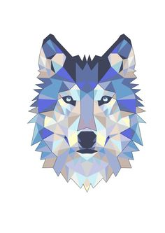 Wolf color cubism tattoo