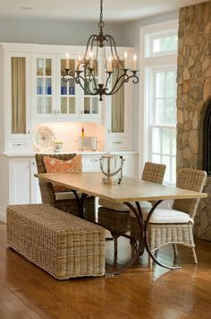 Custom Tables - eclectic - dining room - new york - Tracy Dwyer, Parc Monceau Dining Room Furniture Sets, Wicker Furniture, Dining Room Design, Dining Area, Kitchen Dining, Dining Rooms, Furniture Design, Quinta Interior, Contemporary Kitchen Tables
