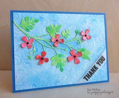Monterey Vine with flowers from Hampstead Corner - Watercolored background