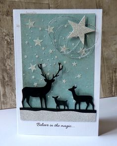 christmas card star starry night deer #deer - silver black white turquoise iceblue - Mikey's Mom: Believe