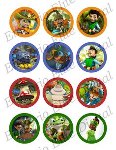 "INSTANT DOWNLOAD Tree Fu Tom Printable Party 2"" Circle for Cupcakes, Hats, Favors, Toppers, Stickers, Decorations"
