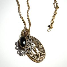 Only $13.99! -  Tibetan High End Large Gold Filigree Metallic Gems Oval Pendant, Silver Ornate Hindu Flower Pendant, Gold Oval Faceted Black Onyx Pendant - Triple Pendant Knotted Tan Beaded Thread Chain Necklace w/Extension Chain & Gold 4 Leaf Clover Charm - FREE SHIPPING - Under $15 Necklace, Tibetan Gold & Silver 3 Pendant Necklace, Hindu Influenced Necklace - FREE USA SHIPPING https://www.etsy.com/listing/449371214/tibetan-gold-filigree-metallic-gems