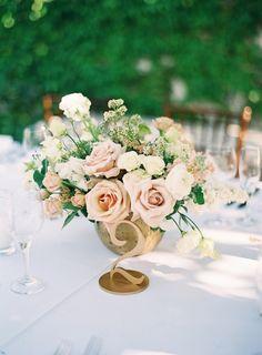 Bridal Glam Meets Organic Florals in this Italian Inspired Wedding Ivory Wedding Decor, Blush Wedding Centerpieces, Vintage Wedding Flowers, Blush Wedding Flowers, Wedding Table Flowers, Wedding Flower Arrangements, Flower Centerpieces, Floral Wedding, Wedding Colors