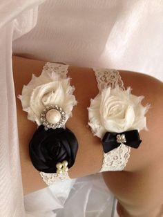 Garter Ivory With Brown Bow And Rhinestone Center Rich And Magnificent Other Men's Clothing