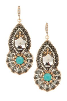 Multicolor Crystal Cluster Drop Earrings