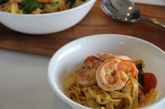 Prawn and Cherry Tomato Fettuccine; quick and easy pasta in under 12 minutes; Cooking For Three, Cooking Time, Baby Spinach, Prawn, How To Cook Pasta, Cherry Tomatoes, Feta, Seafood, Healthy Eating