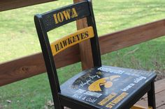 Hand painted Iowa Hawkeye Chair painted by ME :) Hawkeye, Iowa, Hand Painted, Chair, Pattern, Painting, Patterns, Painting Art, Paintings