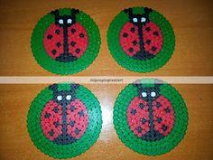 Ladybug coasters hama beads by Nuria Henares Sanmartín