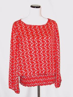 Michael Kors Red Chain Link Smocking Pull Over Blouse size Large #MichaelKors #Blouse #Career