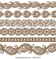 Vector set with abstract floral elements in indian style Ornamental seamless borders. Vector set with abstract floral elements in indian style Mehndi Designs, Mehndi Patterns, Indian Patterns, Henna Tattoo Designs, Henna Tattoos, Doodle Patterns, Zentangle Patterns, Embroidery Patterns, Zentangles