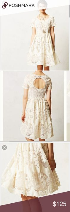 Anthropologie Tracy Reese Ivoire Dress Daisy-fresh cotton fit and flare with lasercut lace detailing. Zip fastening on side and 3 buttons on back. Scoop neckline, short sleeve, knee length. Worn one time to my rehearsal dinner. Like new condition. Anthropologie Dresses Midi