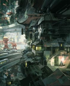 Also check out the stereoscopic version: [link] Visit my website: [link] Various Places: [link] Sitting Cyberpunk City, Futuristic City, Sci Fi Environment, Environment Design, Sci Fi Wallpaper, Underground Cities, Anime Scenery, Environmental Art, Sci Fi Art