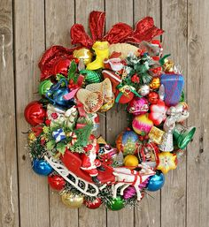Christmas Wreaths for Front Door, Ornament Wreath, Vintage Christmas Decorations, Christmas Door Wreath, Holiday Wreath, Mid Century Antique A wonderful handmade kitsch Christmas wreath, ready to spread some smiles, chuckles and holiday cheer; a really unique and fun gift for