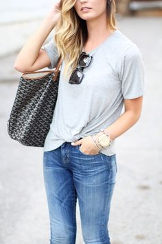 Today on For All Things Lovely: The Perfect Grey Tee for $38! -- Michael Kors watch, David Yurman bracelets, David Yurman ring, Goyard handbag, Celine sunglasses, Current Elliott jeans