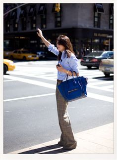 Wide leg for work. Wouldn't hate the Celine bag, either.
