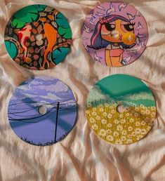 Small Canvas Paintings, Mini Canvas Art, Diy Canvas, Cd Wall Art, Cd Art, Flower Art Drawing, Posca Art, Mirror Painting, Cool Art Projects