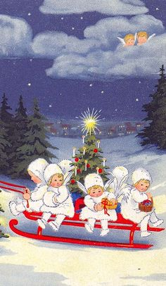Vintage Christmas - children riding with angels looking over them from above.
