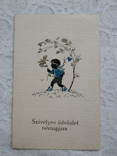 Thanksgiving Greetings, Vintage Silhouette, Vintage Birthday, Birthday Greetings, Vintage Postcards, Children, Kids, Hand Painted, Flowers