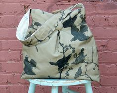 Tobacco Brown Market Bag Reverisble Tobacco Bird and by retrofied, $54.00