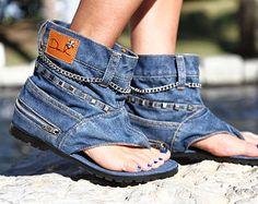 Dani.K Women's Punk Jeans Sandal Boot 100% Cotton Blue Wash - Euro 41 (Us 9.5)