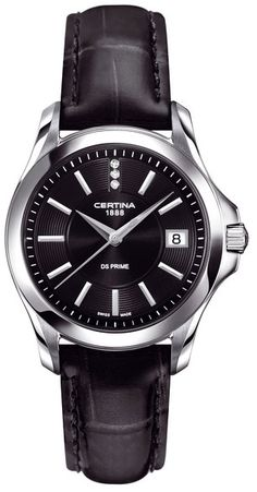 Certina Women s DS Prime 32mm Black Leather Band Steel Case Quartz Analog  Watch C004.210.16 568d13d976