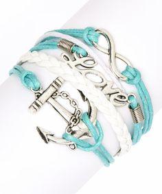 Love this Mint Anchor & Love Braided Bracelet on #zulily! #zulilyfinds