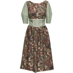 LATTORI Floral Midi Dress with Perforated Faux Leather