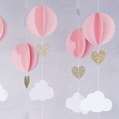 Pink White Gold Glitter Hot Air Balloon Hearts Cloud Baby Nursery Garland Banner Travel These adorable garland decorations will be perfect for your little dreamer. Made with premium card stock paper it will be the perfect decoration for your baby s Shower Party, Baby Shower Parties, Bridal Shower, Ballons Brilliantes, Pink Und Gold, Pink White, White Gold, Rose Gold, Pink Sky