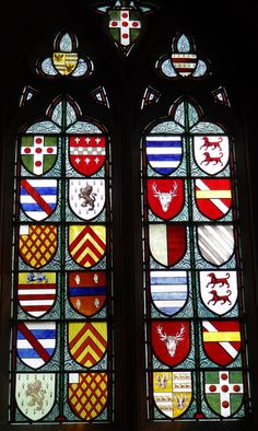 Stained Glass. Heraldic windows Wotton Underwood, Buckinghamshire.