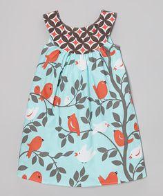 Love this Aqua Bird Yoke Dress - Toddler