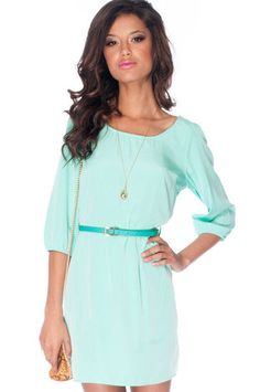 Sera Belted Zip Dress in Seafoam $45 at www.tobi.com  Sold out in Seafoam but have a pretty pink