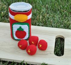 Felt Food Canned Tomatoes 5 Piece Interactive Set by TheFeltedPear,
