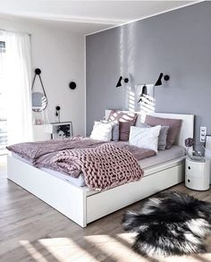 New trend modern Bedroom Design Ideas for 2020 Part 1 ; bedroom design ins Bedroom Themes, Bedroom Sets, Home Bedroom, Bedroom Styles, Bedroom Ideas Grey, Grey Wall Bedroom, Bedroom Girls, Copper Bedroom, Purple Gray Bedroom