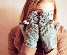 Mouse Mittens Kiss Gloves Gift Wool Crochet