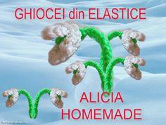 Breloc floare din elastice rubber bands din colectia figurine flori, animale, plante sau fructe din gumite loom. Ghiocel, ghiocei superbi.  CREATIE PROPRIE!!! Rubber Bands, Loom, Homemade, Diy, Plant, Figurine, Home Made, Bricolage, Do It Yourself