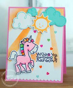 Handmade card - Unicorn, sun, clouds