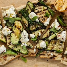 Grilled Zucchini and Ricotta Flatbread | Bon Appétit | The only way to make flatbread even better? Grill it.