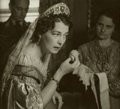 Pss Kira of Prussia (nee Pss Kira Kirillovna of Russia) powdering her face after the wedding to look radiant during the after wedding ceemony- photoshoot. 1938.