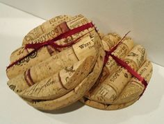 Upcycled Wine Cork Coasters (round)-set of 4