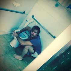 SPF cleaning the toilet at HBJJ;  Courtesy of Sean's twitter