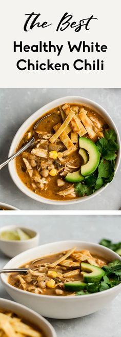 Healthy white chicken chili that's easy and dairy free. Made with green chile, chicken, corn and blended chickpeas to make it creamy. A new family favorite recipe! Serve with avocado, tortilla chips and cilantro. #chilirecipe #healthychili #mealprepping #glutenfreerecipe #chickenrecipe #weeknightdinner #familydinner Healthy Chili, Healthy Soup Recipes, Healthy Meal Prep, Chili Recipes, Healthy Eating, Skinny Recipes, Healthy Dinners, White Chicken Chili, Kitchen Recipes