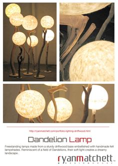 Cape Town based Industrial Designer Ryan Matchett, specializes in creating a variety of furnishings and décor accessories for lodges, hotels, restaurants and private homes both locally and internationally. Portfolio Lighting, Handmade Felt, Lampshades, Decorative Accessories, Dandelion, House Design, Lamp Shades, Dandelions, Taraxacum Officinale